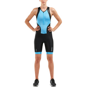 2XU Perform Combinaison avec avec zip frontal Femme, black/aqua mirage